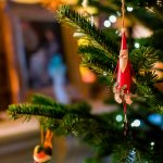 christmass tree santa ornament - ways to stage house for winter sale