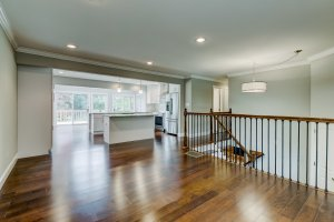 We used a support beam to create an open concept main floor at 625 Edwards Rd