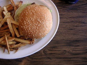 Hamburger and fries from a restaurant in oxnard