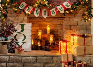 Fireplace holiday candles & presents