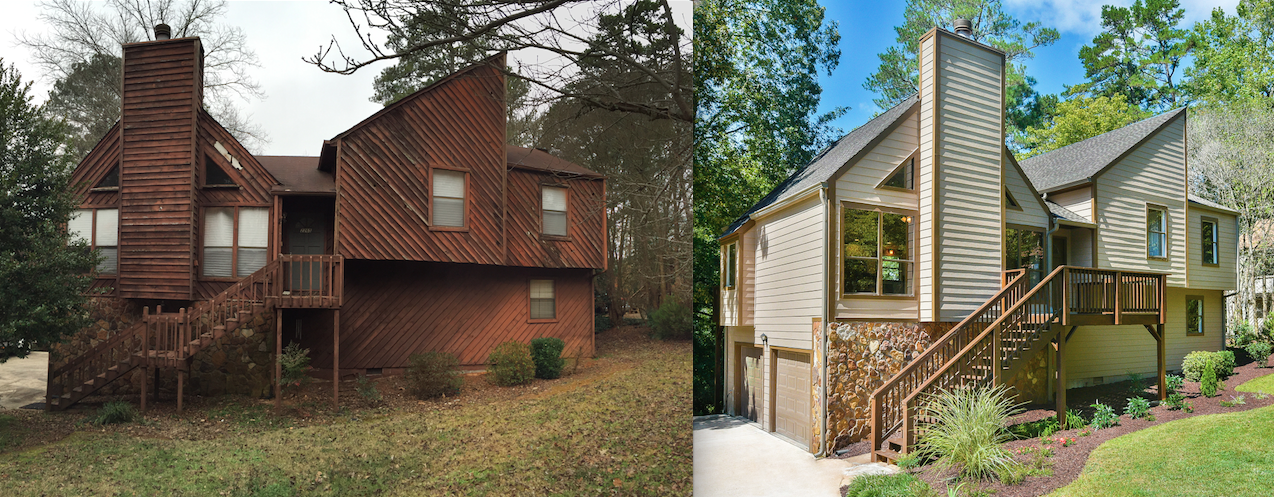 before and after renovation on probate house