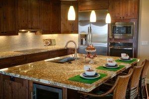 home for sale - floresville - kitchen bar set for dinner