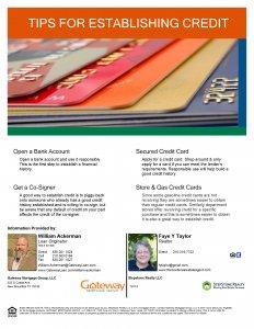 Tips For Establishing Credit