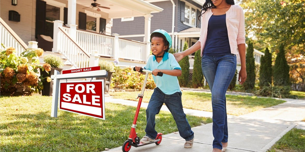 What is a short sale and how does it benefit you | for sale sign kid on scooter