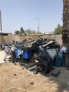 Backyard with trash in Las Vegas house