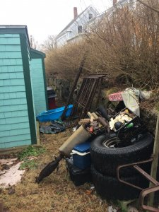 """Messy backyard - if you're saying """"I need to sell my Massachusetts house fast"""" contact us now!"""