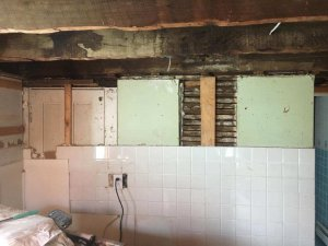 """Partially gutted kitchen - if you're saying """"I need to sell my Massachusetts house fast"""" contact us now!"""