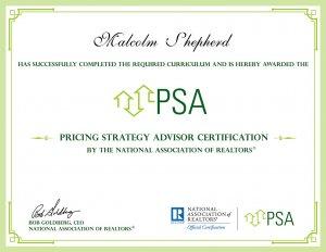 Pricing Strategy Advisor Certification Malcolm Shepherd PSA Reno Nevada