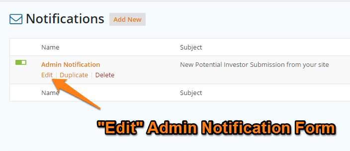 Carrot Form Notification Admin Edit