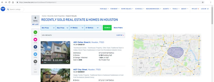 Sell Your House Fast in Houston - HAR recent sales data