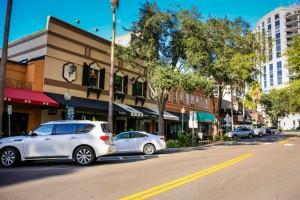Sarasota, FL, USA - November 17, 2012: Stores and Cafes on Lower Main Street in the cosmopolitan city of Sarasota Florida