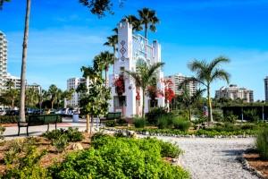 Sarasota, FL, USA - December 31, 2012: The Bayfront Park entrance arch on the waterfront of Sarasota, Florida
