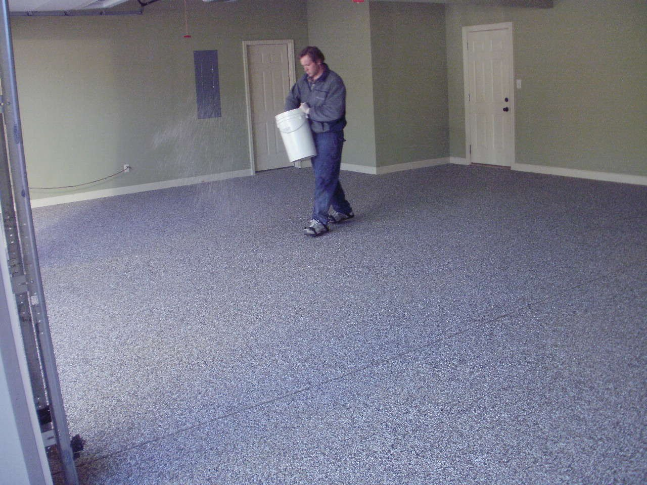 How to epoxy coat a garage floor pittsburgh property guy for Painting garage floor